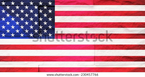 brick wall polygon texture, flag of United state of America
