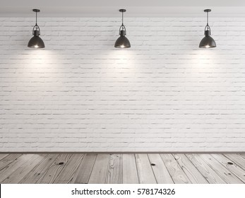 brick wall room with hanging lamps and wood floor 3D illustration