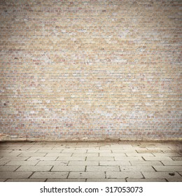 brick wall texture and blocks road pavement abandoned exterior urban background for your concept or project
