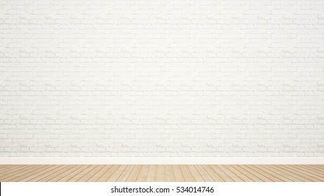 brick wall and wood floor in room for artwork - Empty room and white brick wall decorate for add artwork - 3d rendering