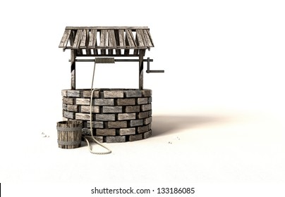 A brick water well with a wooden roof and bucket attached to a rope next to it on an isolated background