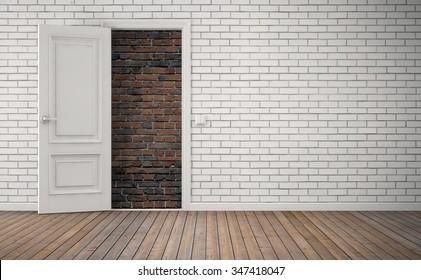 Bricked up door in room. No way out concept. 3D rendering