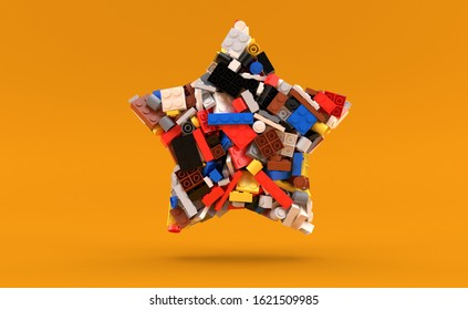 Bricks in star shape isolated on yellow background. 3d illustration