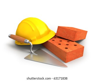 Bricks, trowel and a yellow plastic helmet