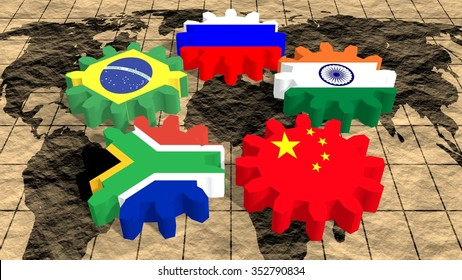 BRICS - association of five major emerging national economies members flags on gears. World map grunge textured surface. Trade union