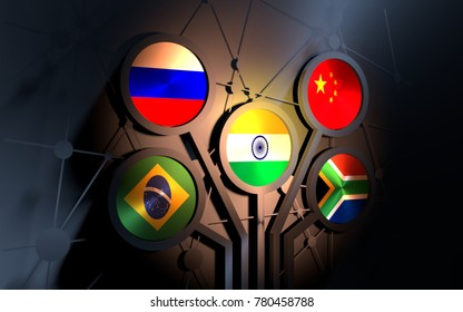 BRICS - association of five major emerging national economies members. Trade union. Molecule And Communication Background. Brochure or web banner design. Connected lines with dots. 3D rendering