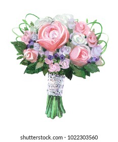 Bridal bouquet. Watercolor illustration isolated on white background.