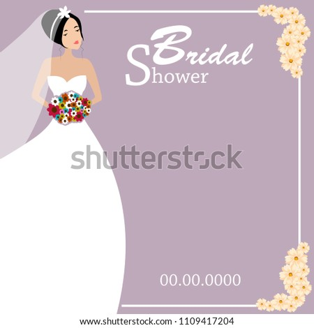 bridal shower illustration beautiful bride with simple baground