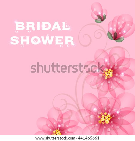 bridal shower invitation template with flowers illustration with place for text