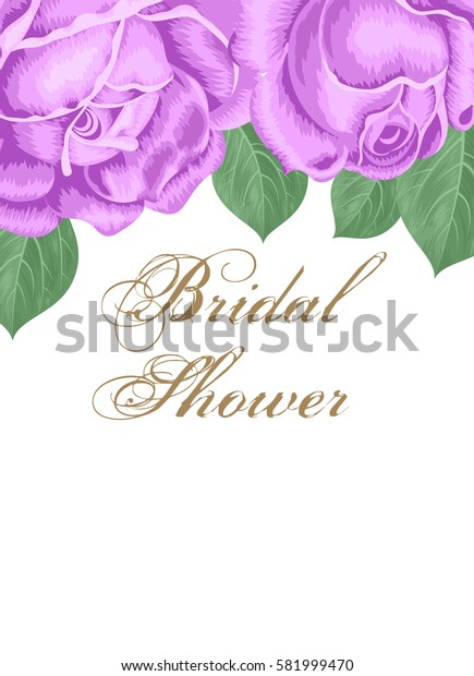 Bridal shower or wedding invitation with roses. Illustration.