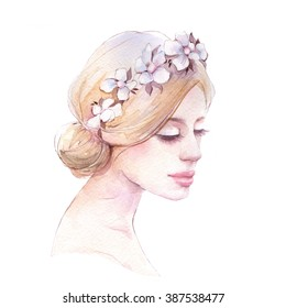 Bride 1. Watercolor illustration. Isolated on white background