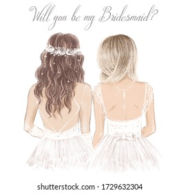 Bride and bridesmaid side by side in white, wedding invitation. Hand drawn illustration in vintage style