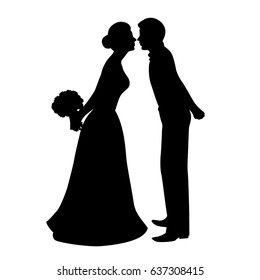 The bride and groom. The black silhouette of bride and groom on a white background. illustration.