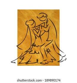 Bride and groom dance brush line drawing