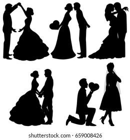 The bride and groom. Set. Collection. The black silhouette of bride and groom on a white background. illustration.