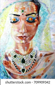 bride Indian woman oil painting