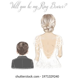 Bride and Ring Bearer. Hand drawn illustration