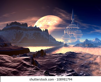 Bridge to Alien City of Towers on Distant Planet