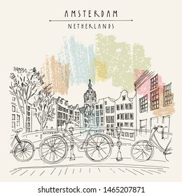 Bridge in Amsterdam, Holland, Netherlands Europe. Dutch traditional historical buildings. Typical Dutch houses and bicycles. Hand drawing. Travel sketch. Book illustration, artistic postcard, poster