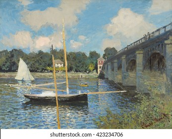 The Bridge at Argenteuil, by Claude Monet, 1874, French impressionist painting, oil on canvas. The bright blue of the sky is reflected with equal intensity in the water