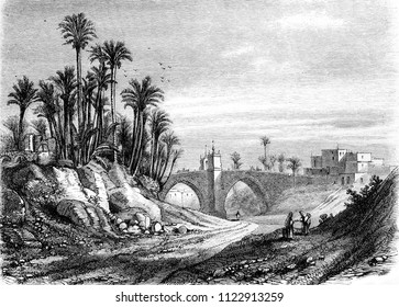 Bridge of Elche, vintage engraved illustration. Magasin Pittoresque 1855.