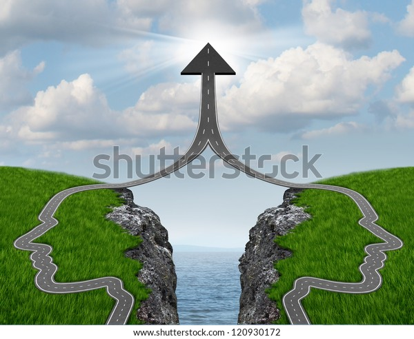 Bridge the gap and bridging the differences in two business partners over a financial cliff to merge for team success as a strong partnership with two head shaped roads merging as an upward arrow.