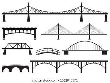 Bridge icon set. Different bridges silhouettes.