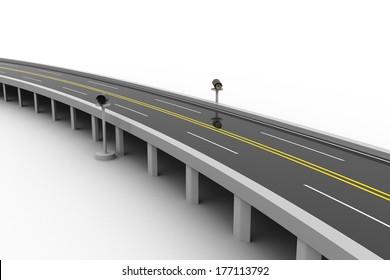 Bridge road and signal lamp