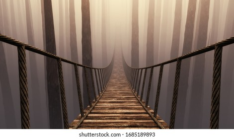 Bridge suspension into the misty forrest . This is a 3d render illustration .