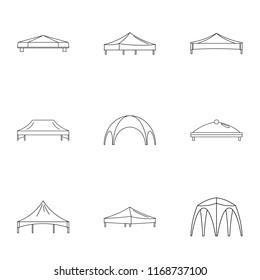 Bridge valance icons set. Outline set of 9 bridge valance icons for web isolated on white background