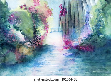 Bridge and water landscape fantasy watercolor in many colors.
