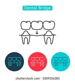 Bridges teeth icon. Dental concept. Dental Bridge Crown Prosthetic Dentistry  Illustration. Medicine symbol for info graphics, websites and print media. Contour clinic icon. Editable stroke.
