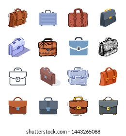 Briefcase business suitcase bag and baggage accessory for work or office illustration set bagged case isolated on white background
