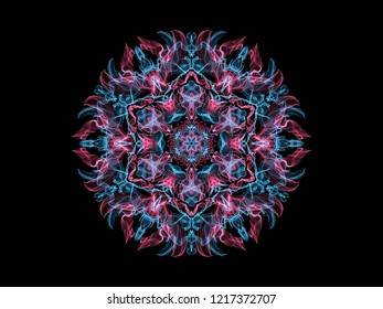 Bright abstarct flame mandala flower in pink and blue colors, ornamental round pattern on black background.