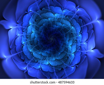 Bright abstract fractal blue flowers. Graphic element for design