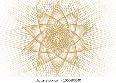 Bright abstract fractal gold star, Fractal starry sky fantasy pattern - yellow and white