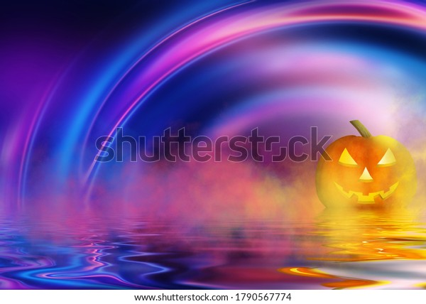 Bright abstract Halloween background. Pumpkin is reflected on water, neon light, smoke, fog. Halloween party. 3d illustration