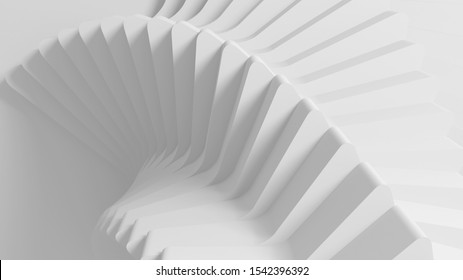Bright abstract parametric background from the rotating screw of the spiral steps. 3D illustration
