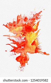 Bright abstract watercolor splash on white textured paper