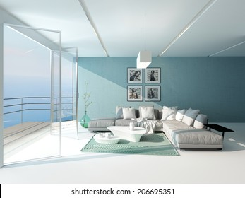 Bright airy sitting room with a panoramic floor-to-ceiling window overlooking the sea furnished with a comfortable suite and aquamarine accent wall