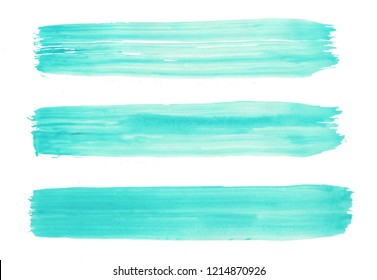 Bright aquamarine watercolor art with brush strokes set. Aquarelle paint paper texture isolated stain element for text design, greeting card, template. Gentle blue color hand drawn illustration