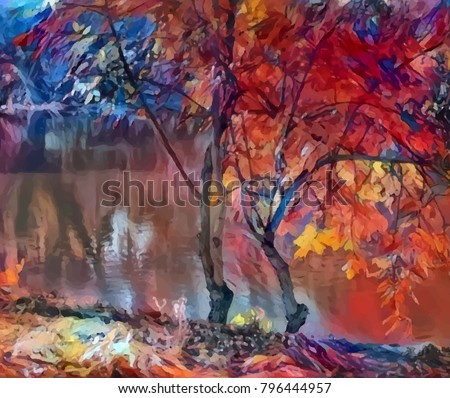 bright-art-autumn-trees-river-450w-79644