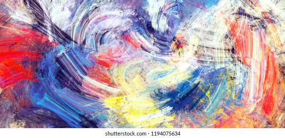 Bright artistic splashes. Abstract painting color texture. Modern futuristic winter pattern. Multicolor dynamic background. Fractal artwork for creative graphic design