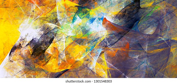 Bright artistic splashes. Abstract yellow and blue painting texture. Modern futuristic pattern. Bright dynamic background. Fractal artwork for creative graphic design