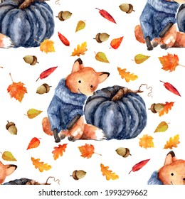 Bright autumn pattern with a fox, pumpkin and falling leaves. Watercolor illustration at 800 dpi.