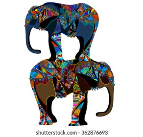 bright background with colored elephants