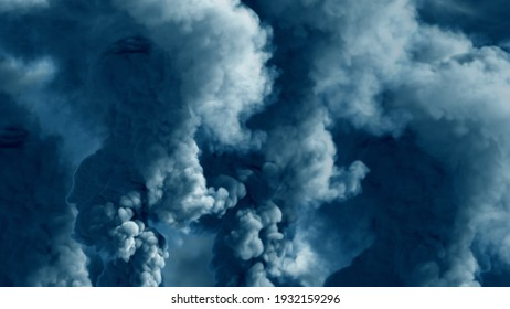 bright background of heavy smoke, contamination concept - abstract 3D rendering