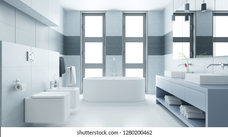 Bright bathroom with bath and bidet and two sinks (3d rendering)