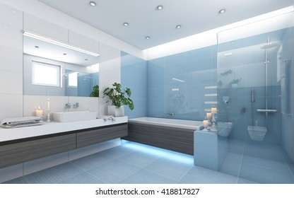 Bright Bathroom In Blue With Candles 3d rendering