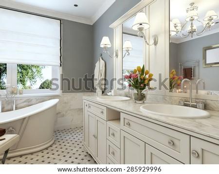 Bright Bathroom Classic Design Blue White Stock Illustration Gorgeous Bathroom Classic Design